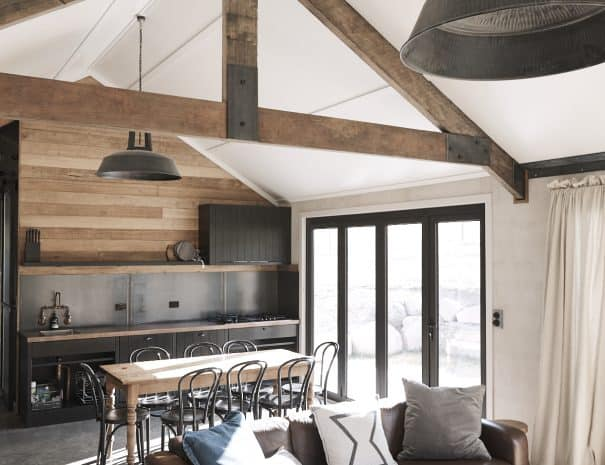 Field Hut living, modern comforts, earthy textures