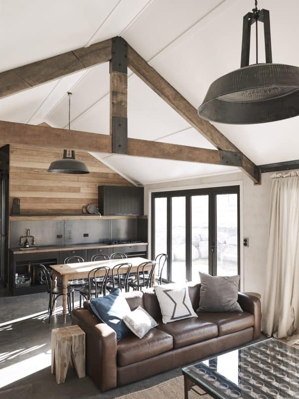 Field Hut living, modern comforts, earthy textures